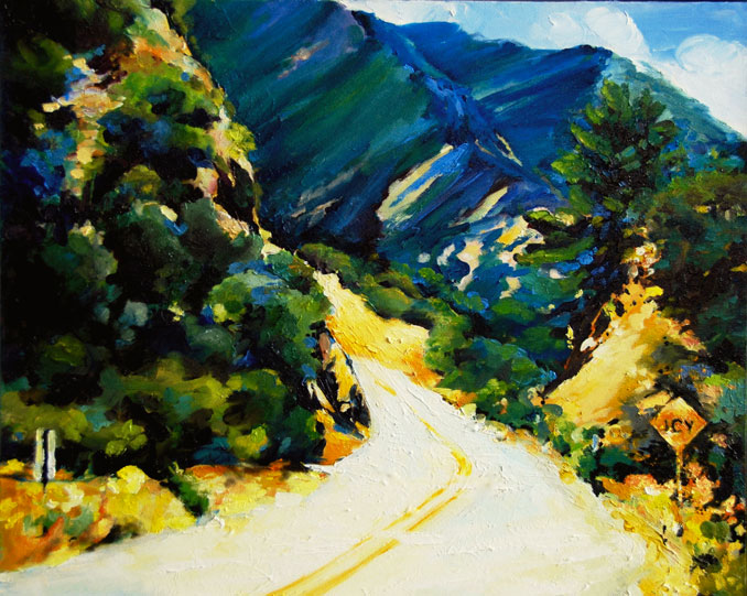 Icy sign in a warm landscape painting of Ojai California Los Padres National Forest San Joaquin Valleyby Francene Christianson