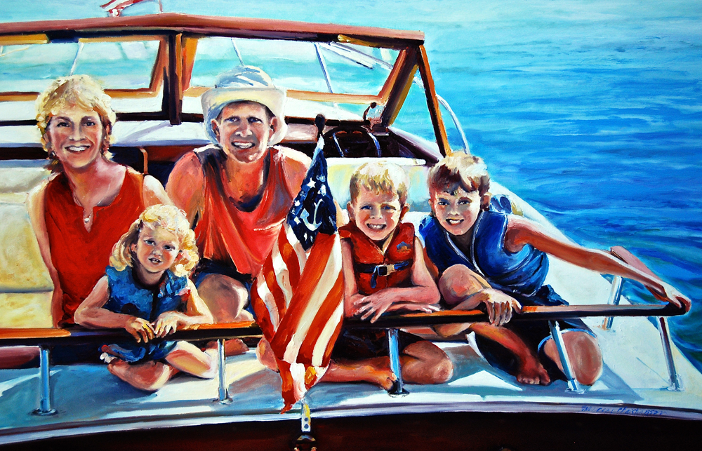Family portrait painting by Francene Christianson
