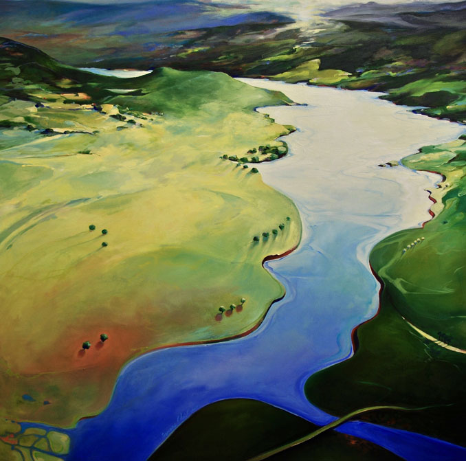 Above the River landscape painting by Francene Christianson