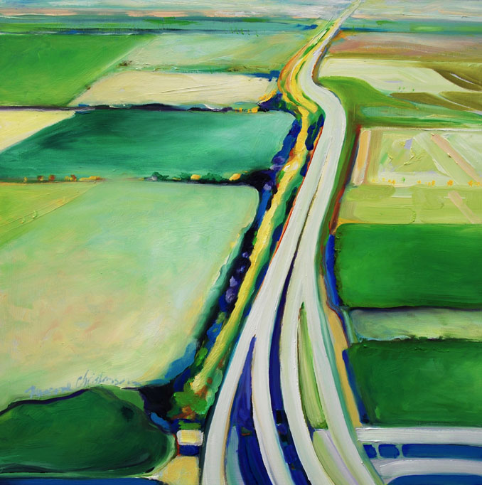 Above Texas original oil painting of an aerial view of Texas by Francene Christianson