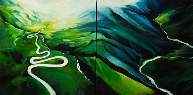 Above the Curves aerial view of  landscape oil painting by Francene Christianson
