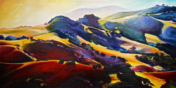 Above Town Sycamore Canyon Avila Beach San Luis Obispo landscape painting by Francene Christianson