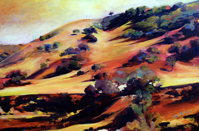 Autumn Hills Central California Coast Wine Country Santa Barbara painting by Francene Christianson