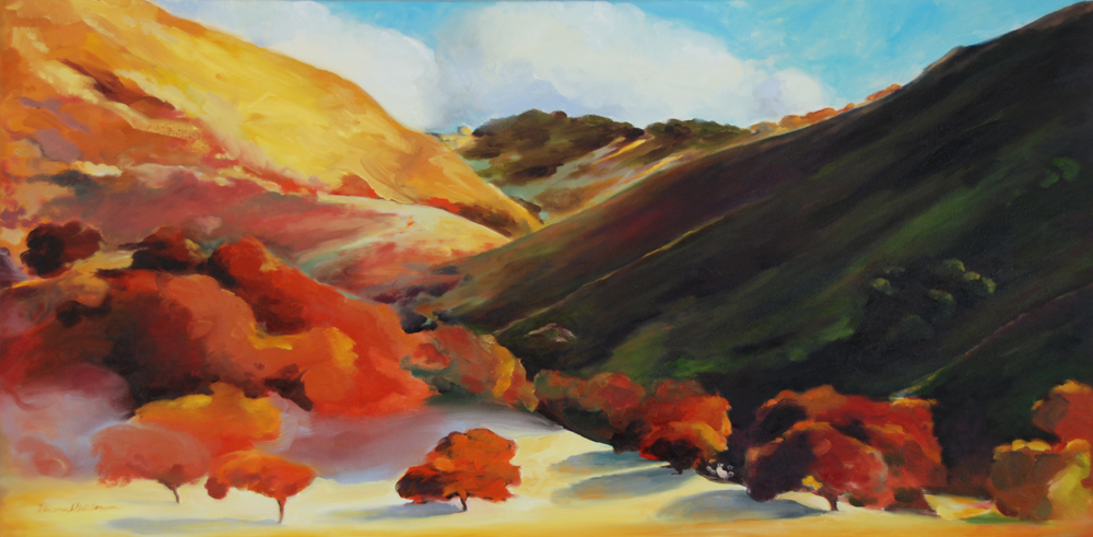 Big Clouds Central California Coast landscape painting by Francene Christianson painting