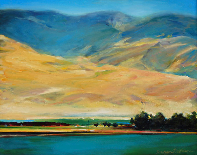 Blue Rimmed Valley landscape oil painting by Francene Christianson