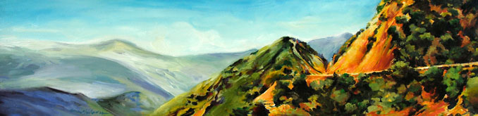 California Gold Los Padres National Forest landscape painting by Francene Christianson