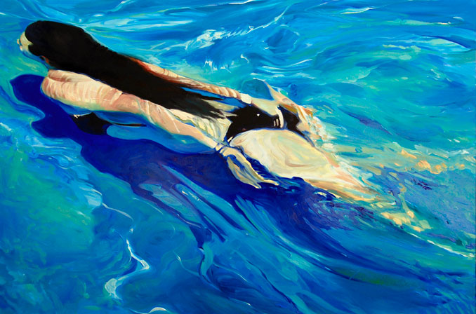 Clear Blue pool painting swimmer underwater painting by Francene Christianson