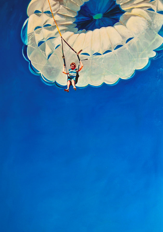 Francene Christianson original parasail painting Coming in for a Landing