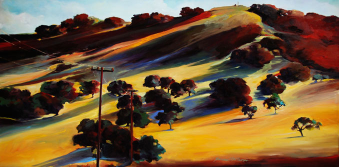 "Francene Christianson's ""Connected"" original oil landscape painting California wine country"