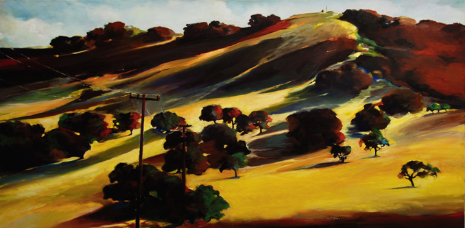 Connected landscape painting by Francene Christianson of Central Coast California wine country