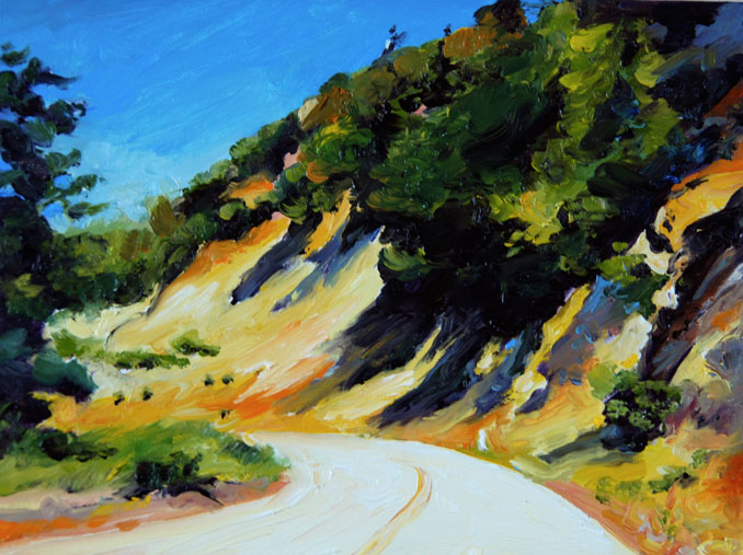 Curvy Road Los Padres National Forest California  landscape painting by Francene Christianson
