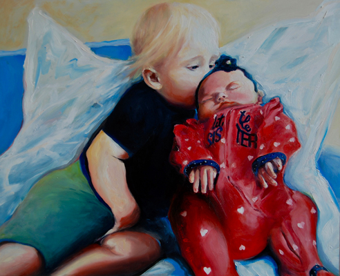 family photo original oil painting by Francene Christianson