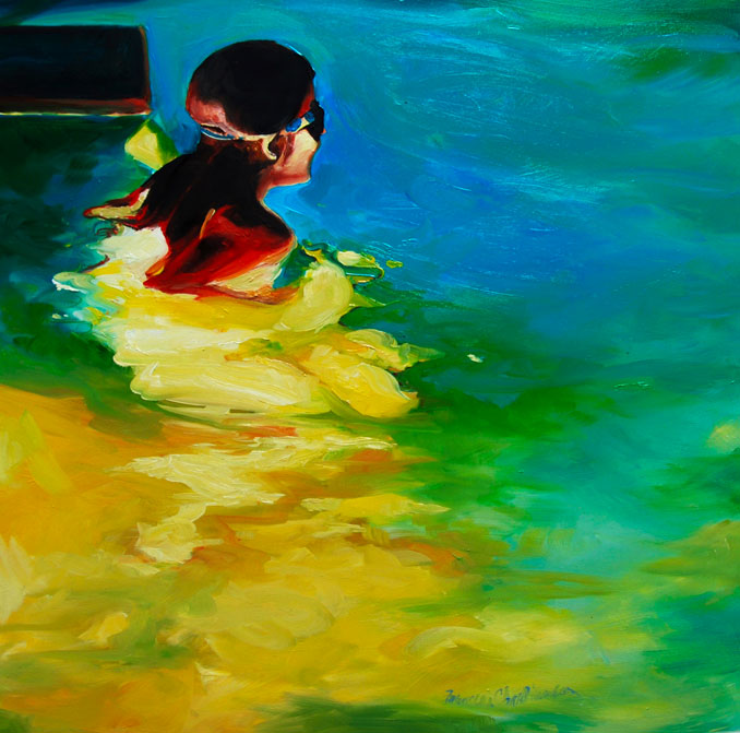 Evening Swim 2 original oil painting by Francene Christianson swimmers in a pool