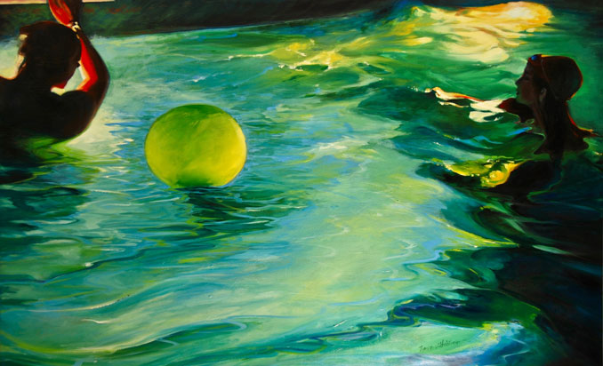Evening Swimmers detail of original oil painting by Francene Christianson