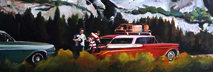 Grab Me a Coke nostalgic painting of Yosemite with staionwagon cars from the 1960's