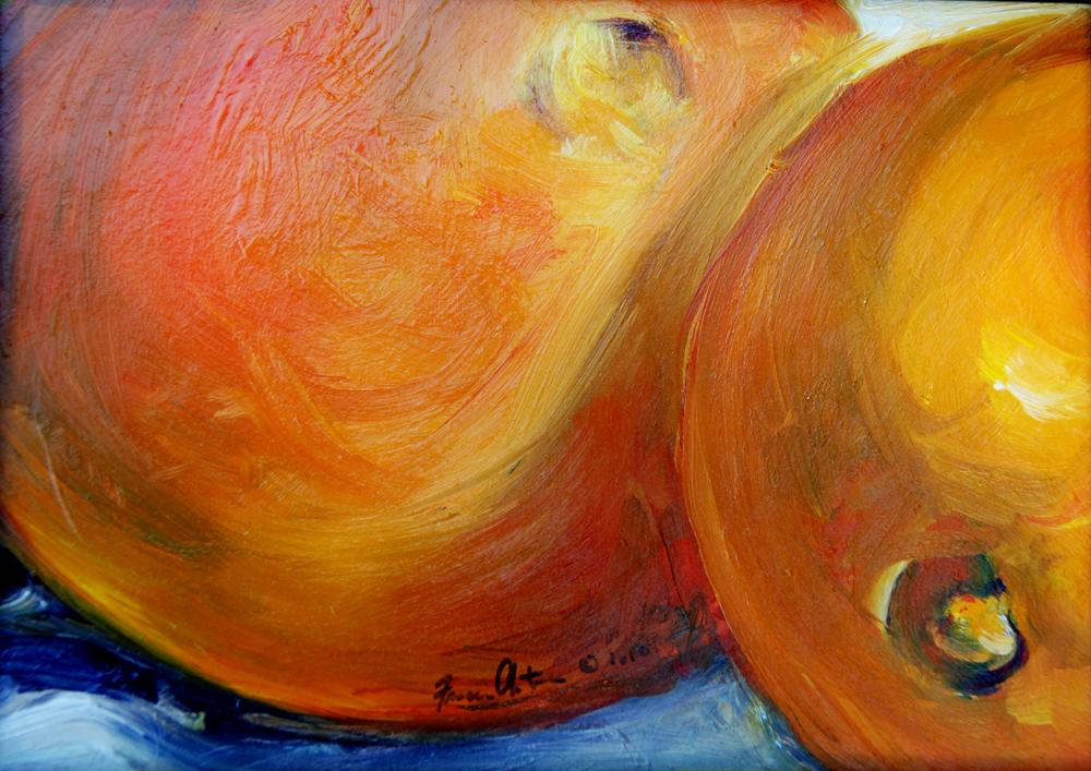 Healing Oranges, still life painting by Francene Christianson