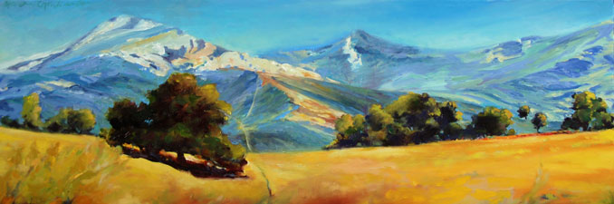 High Noon Curvy Road Los Padres National Forest California landscape painting by Francene Christianson