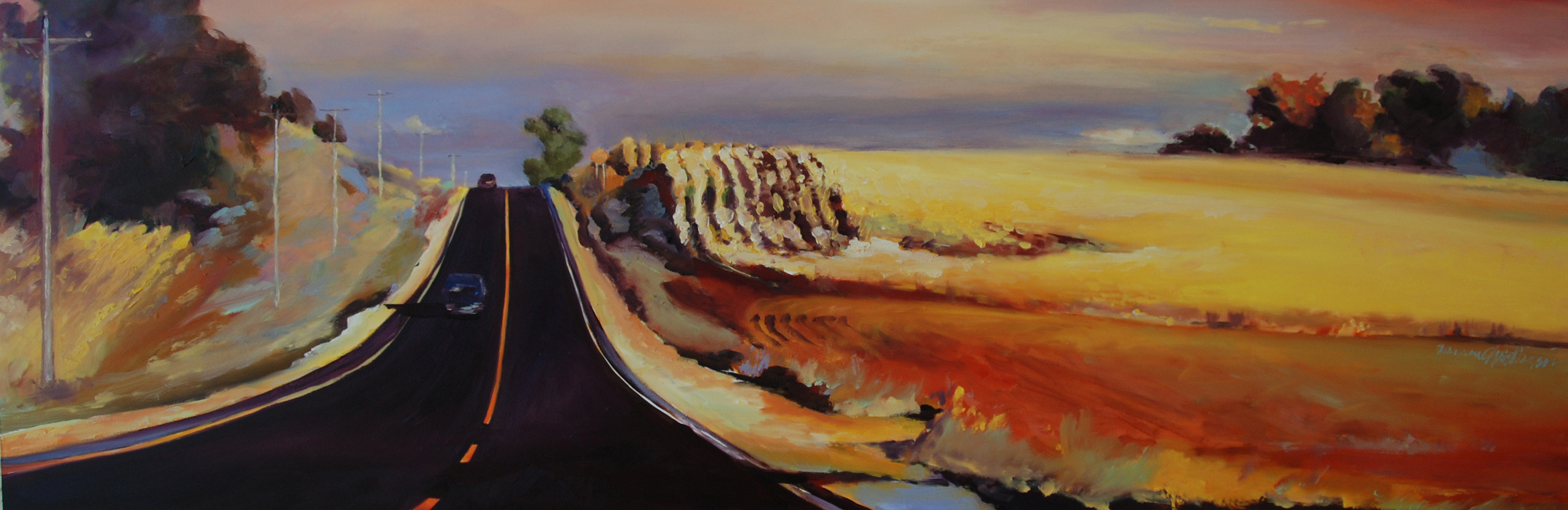Highway 61 road to Red Wing near Mississippi River Minnesota oil painting by Francene Christianson