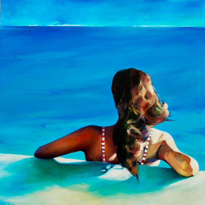 In the Moment original pool painting of a swimmer at rest by Francene Christianson