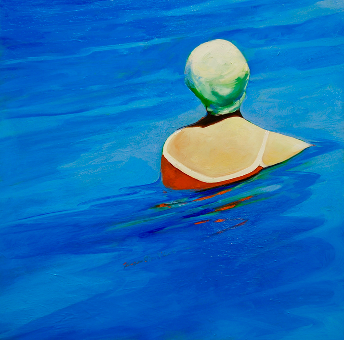 In the Pool 2 figurative painting by Francene Christianson
