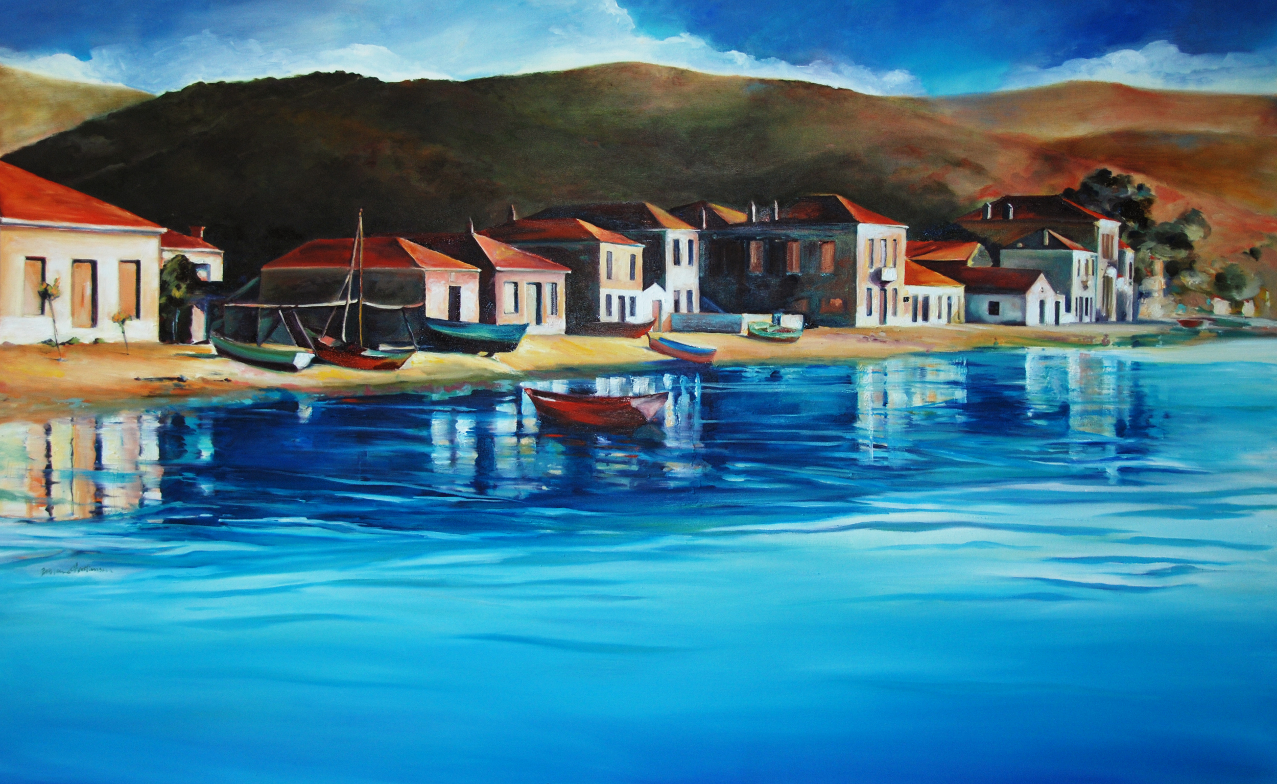 View of Milina Greece painting by Francene Christianson