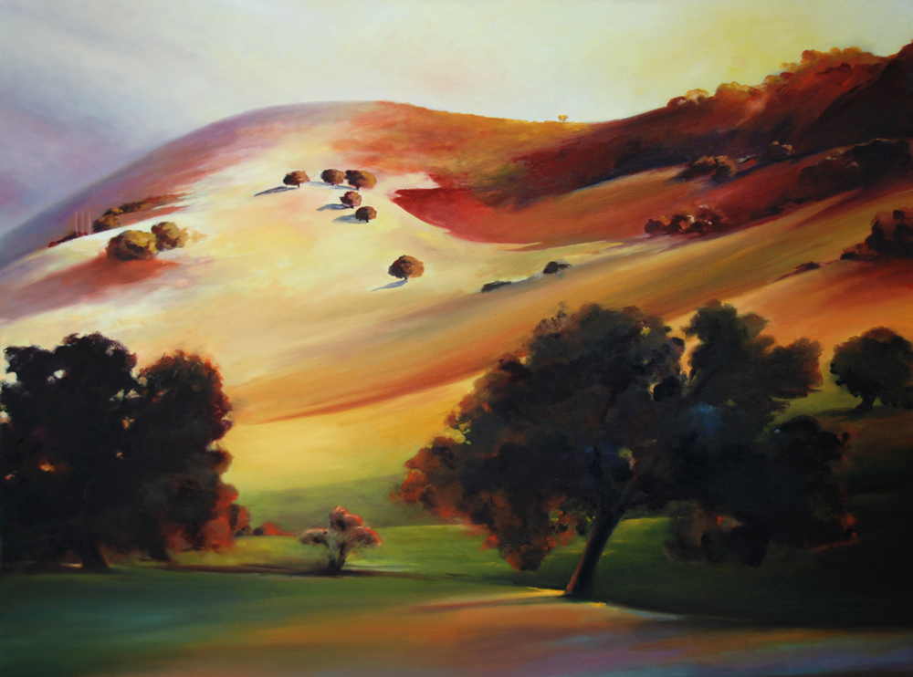 Morning Greets the Hills sunrise Santa Ynez Valley California Central Coast landscape painting of wine country by Francene Christianson