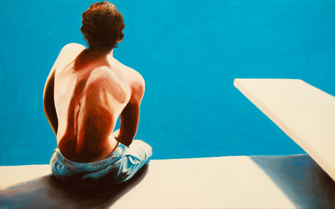 On the Edge original oil painting of a swimmer at a pool by Francene Christianson