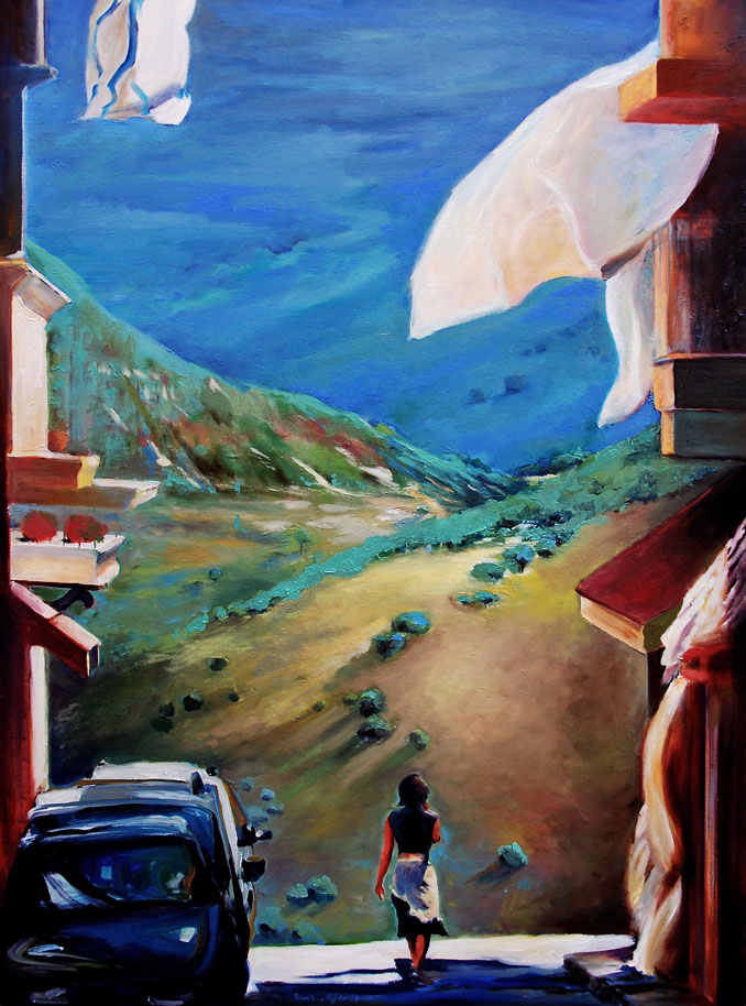 Road in Palermo Sicily painting by Francene Christianson