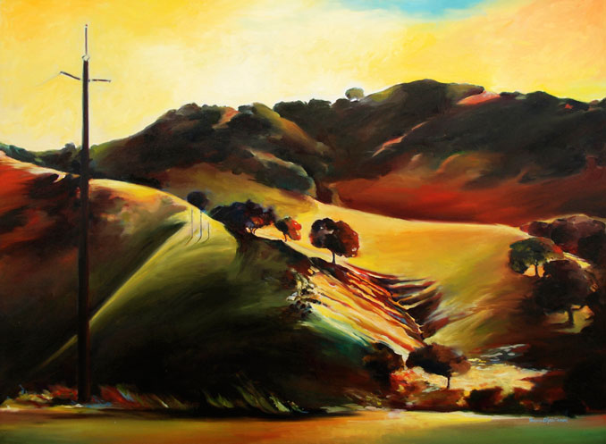 Passing View of wine country in California original oil painting by Francene Chridtianson