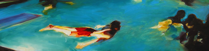 Red Suit oil painting of swimmers in a backyard pool at night by Francene Christianson
