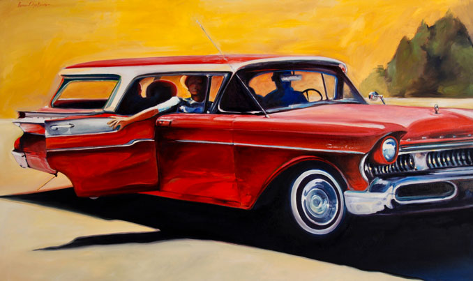 Red 1957 Mercury classic car oil painting by Francene Christianson Yosemite