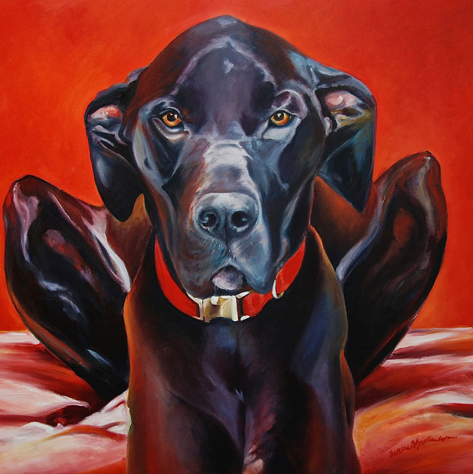 painting of a Great Dane by Francene Christianson who will paint your pet