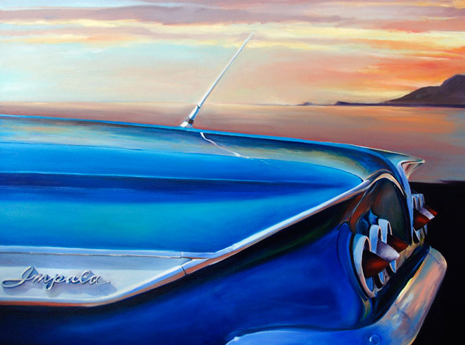 Summer Car 1060's Chevy Impala oil painting by Francene Christianson