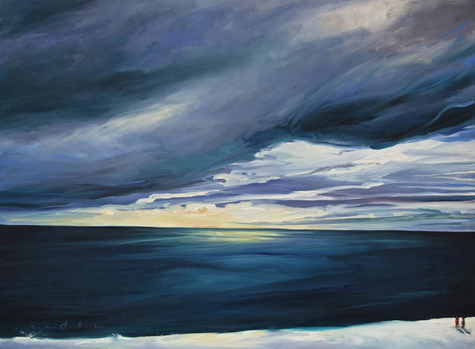 Superior Sunrise painting of Lutson Minnesota Lake Superior by Francene Christianson