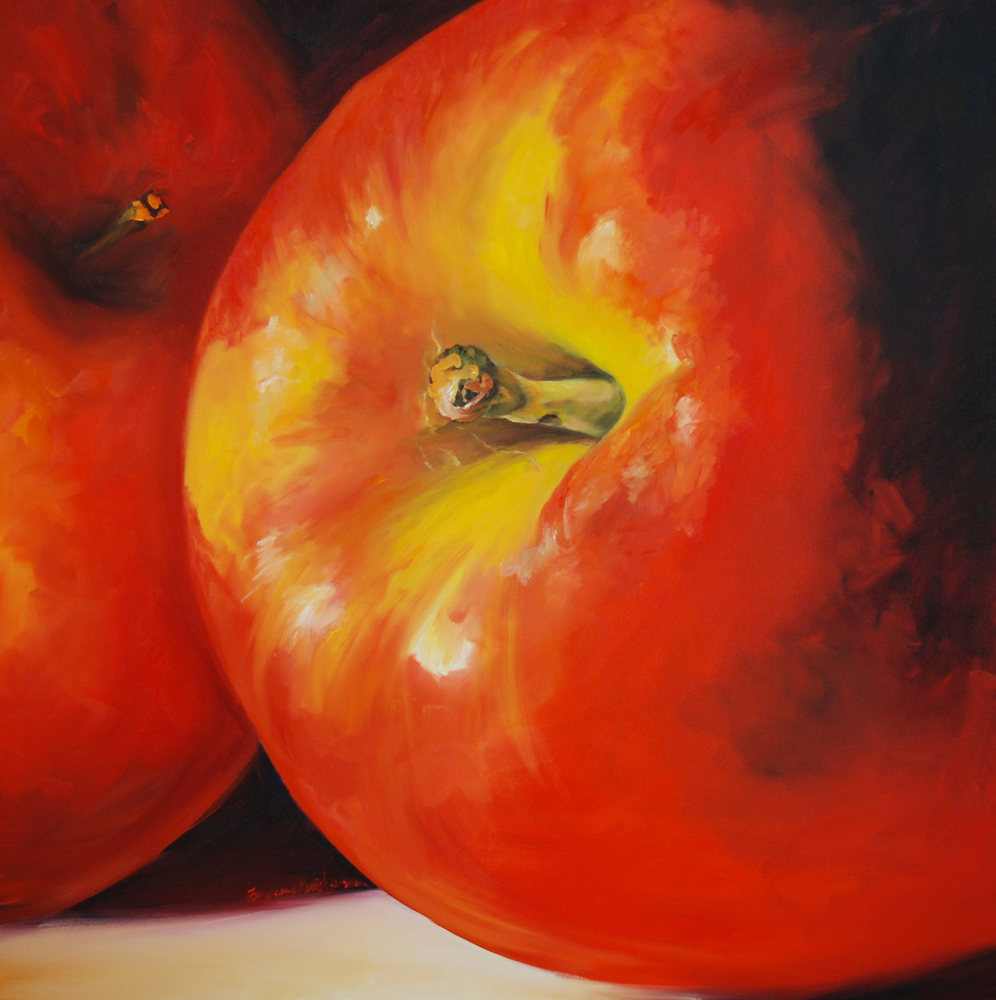 painting of a big apple by Francene Christianson