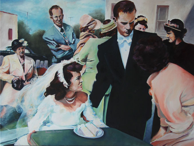 1950's family wedding gathering nostalic oil paintings on canvas by Francene Christianson
