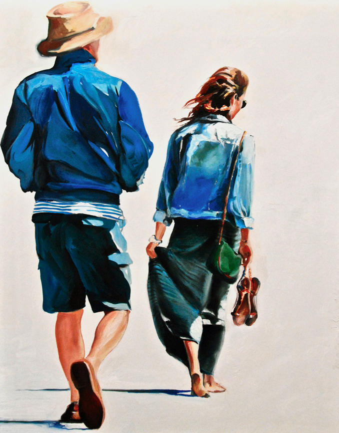 Walkers on the Beach figurative narrative painting by Francene Christianson