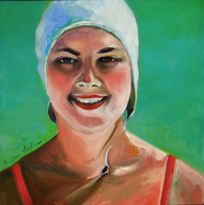Woman in Bathing Cap original oil painting by Francene Christianson