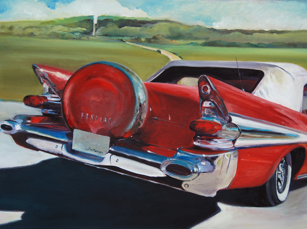 1950's red Pontiac Wisconsin Landscape painting by Francene Christianson