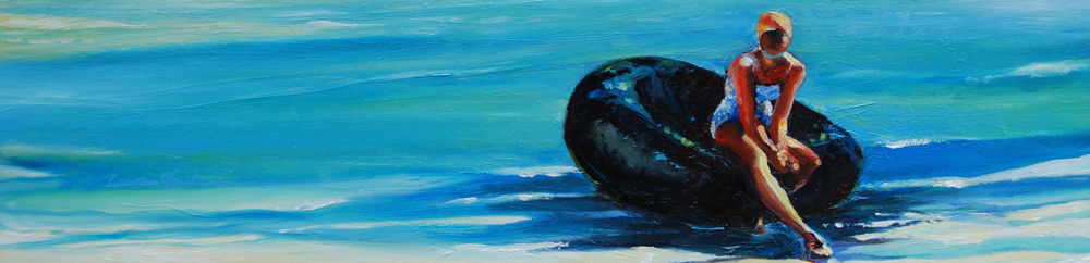 On the Innertube figurative swim painting by Francene Christianson