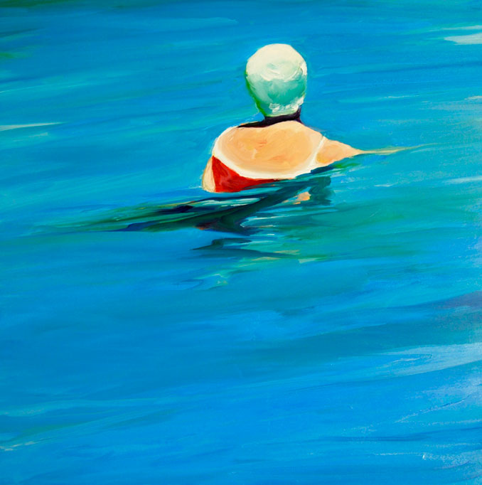 Woman with Swim Cap original oil painting by Francene Christianson