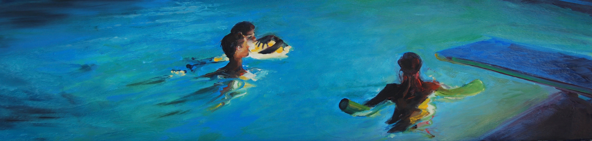 In the Pool 1 figurative oil painting by Francene Christianson