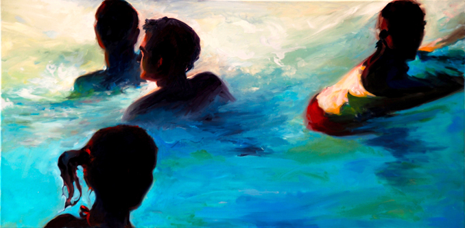 In the Pool figurative swim painting by Francene Christianson